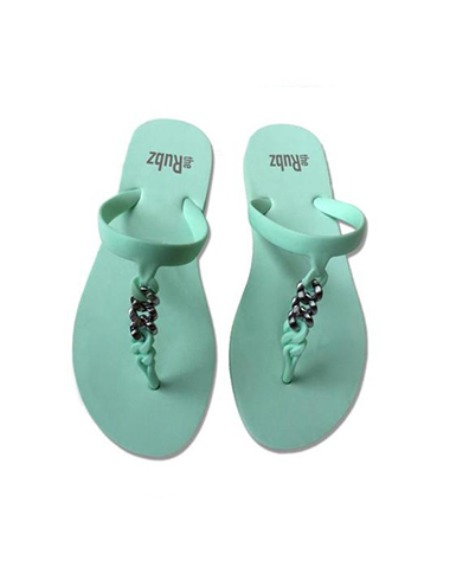 flipflops mint green & silver metal