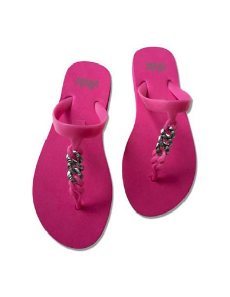 flipflops pink & brushed silver metal