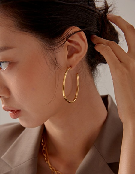 exid oval round earring (2color)